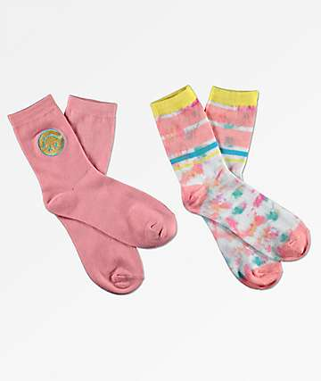 Empyre 2 Pack Brenn Smiley Pink Crew Socks