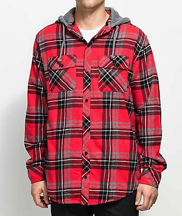 Empyre Advert  camisa de franela en rojo y negro con capucha