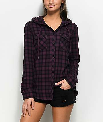 Empyre Aimie Blackberry & Black Hooded Flannel