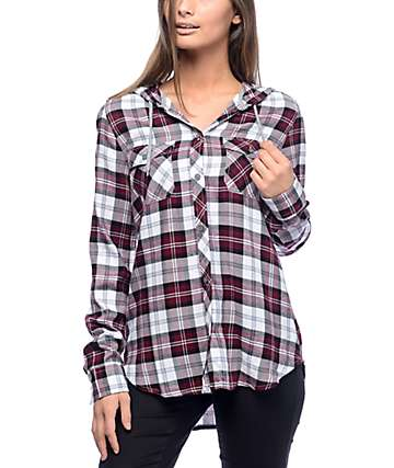 Empyre Aimie Burgundy & White Hooded Flannel Shirt