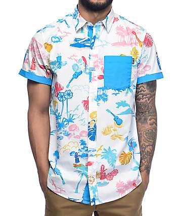 Empyre Aloha camisa tejida en blanco y azul