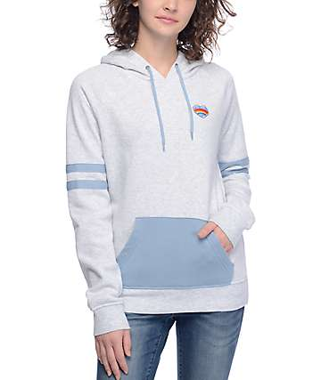 Empyre Angelina Rainbow Heart Blue & Heather Grey Hoodie