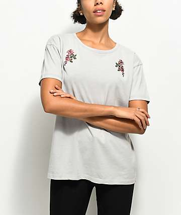 Empyre Annette Rose Embroidered Grey T-Shirt