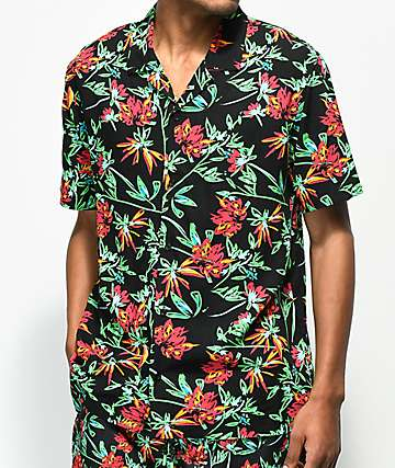 Empyre Anthony Black & Bright Tropical Print Short Sleeve Button Up Shirt