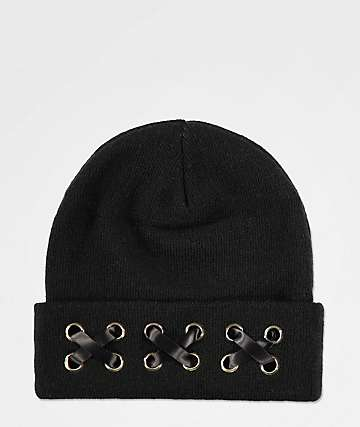 Empyre Aria Black Lace Up Beanie