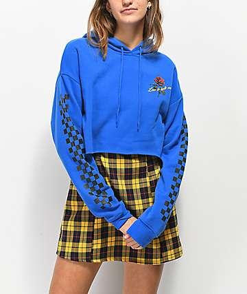 Empyre Ariana Lupine Checker Blue Crop Hoodie