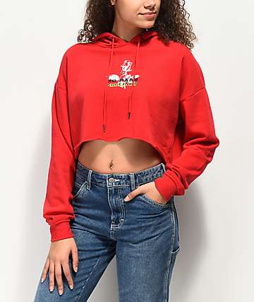 Empyre Ariana No Hard Feels Red Crop Hoodie