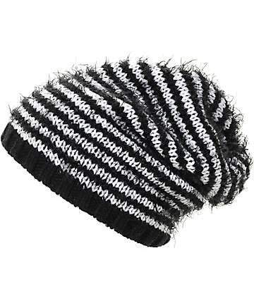 Empyre Bailey Black & White Stripe Slouch Beanie