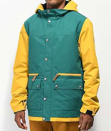 Empyre Banks Varsity 10K chaqueta de snowboard verde y amarilla