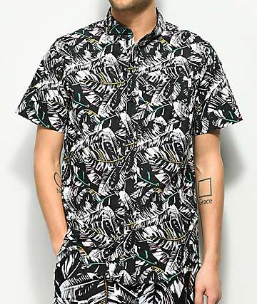Empyre Bend Palm Black & White Short Sleeve Button Up Shirt