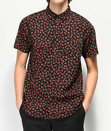 Empyre Benson Rose Black Short Sleeve Button Up Shirt