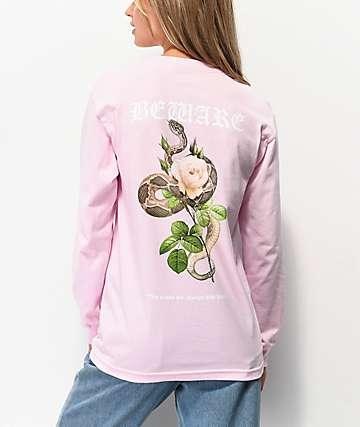 Empyre Beware Snake Rose Pink Long Sleeve T-Shirt