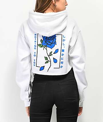 Empyre Blue Flame Rose White Crop Hoodie