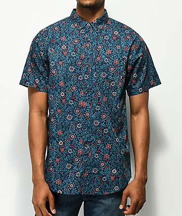 Empyre Bounce Floral Navy Short Sleeve Button Up Shirt