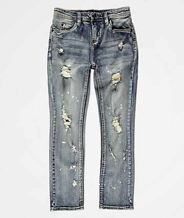 Empyre Boys Recoil Blue Splatter Super Skinny Jeans