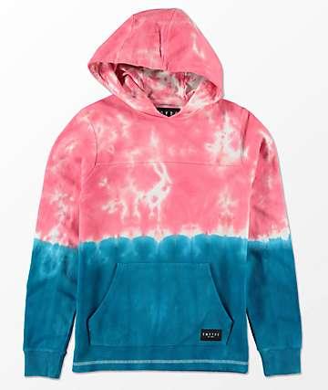 Empyre Boys Reef Tie Dye Pink & Blue Hoodie