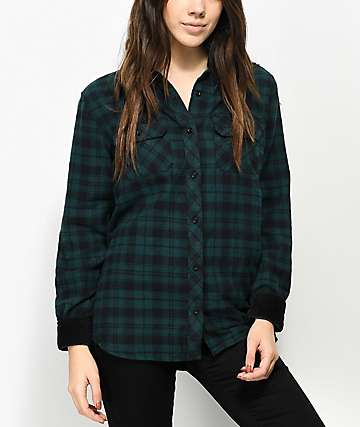 Empyre Brandon Green & Black Button Up Shirt