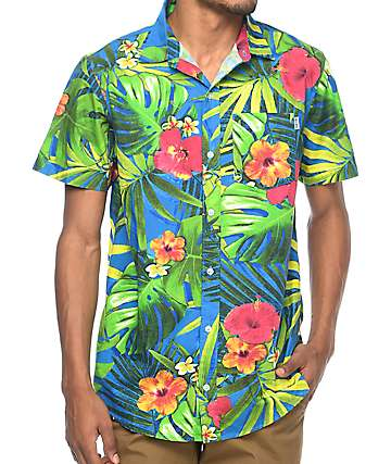 Empyre Broch Navy Tropical Floral Short Sleeve Button Up Shirt