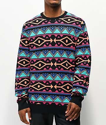 Empyre Brock Pattern Black, Blue & Pink Sweater