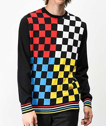 Empyre Brock suéter negro de cuadros multicolor