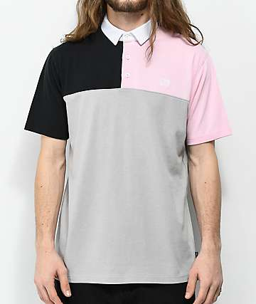 Empyre Broke Grey, Black & Pink Colorblock Polo