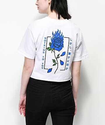 Empyre Burning Blue Rose White Crop T-Shirt