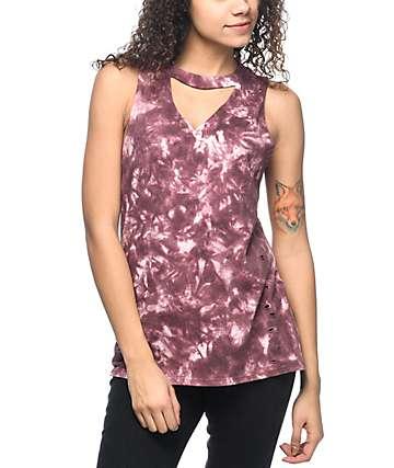 Empyre Canyon Keyhole camiseta con sisas recortadas y efecto tie dye