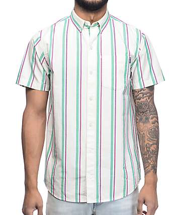 Empyre Carnival Off White Vertical Striped Short Sleeve Button Up Shirt