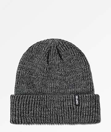 Empyre Carter Marled Heather Grey & Black Fold Beanie