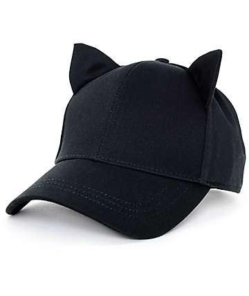 Empyre Cat Ear Onyx Black Strapback Hat