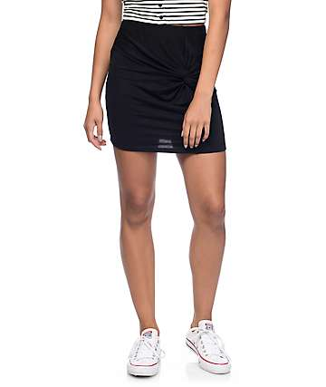Empyre Cha Cha Black Knot Front Mini Skirt