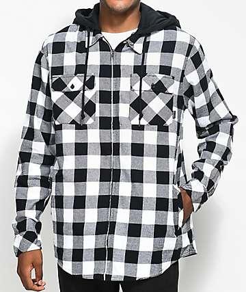 Empyre Chance camisa de franela en negro y blanco con capucha