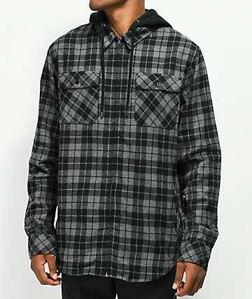 Empyre Chancer camisa de franela gris y negra con capucha