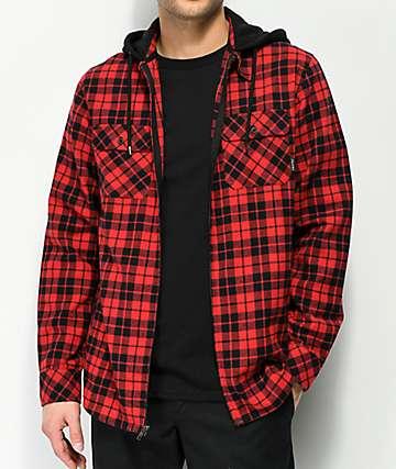 Empyre Chancer camisa de franela roja y negra con capucha