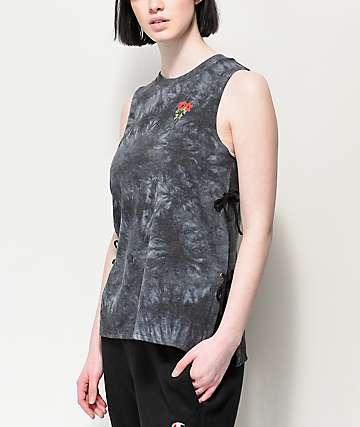 Empyre Charlie camiseta negra sin mangas con efecto tie dye y cordones