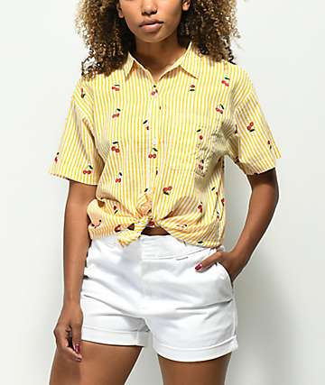 Empyre Cherry Stripe Knot Front Button Up Shirt