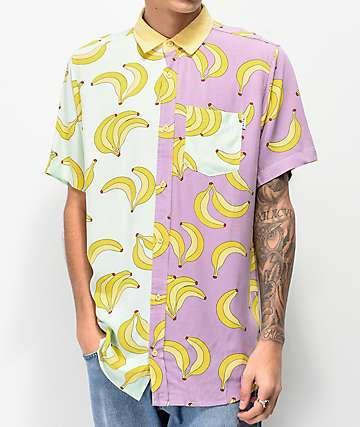Empyre Christopher Teal & Purple Short Sleeve Button Up Shirt