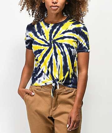 Empyre Claire camiseta con efecto tie dye amarillo y azul marino