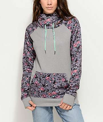Empyre Crestone Tech Fleece Grey Floral Hoodie
