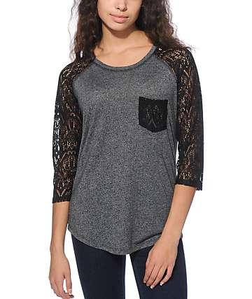Empyre Dana Charcoal & Black Lace Pocket Top