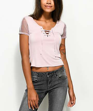 Empyre Dani Lace Up & Mesh Sleeve Mauve T-Shirt