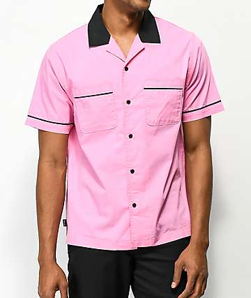 Empyre Daniel Pink & Black Button Up Bowling Shirt