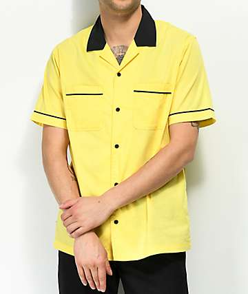 Empyre Daniel Yellow & Black Button Up Bowling Shirt