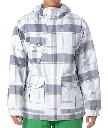 Empyre Decender White Plaid Mens 10K Snowboard Jacket 77dfc4e1b
