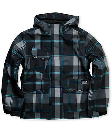 Empyre Descender Boys Black Plaid 10K Snowboard Jacket f7701a11c
