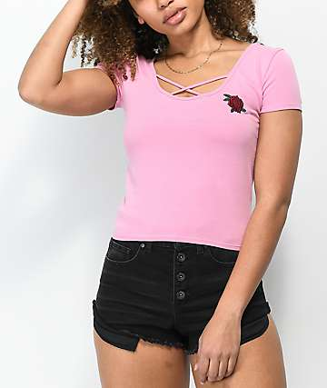 Empyre Dorcey Criss Cross Pink Crop Top