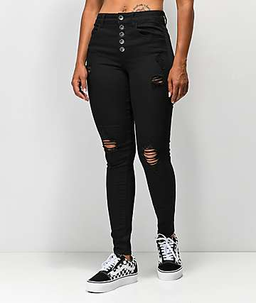 Empyre Drea High-Rise Exposed Button Black Jeggings