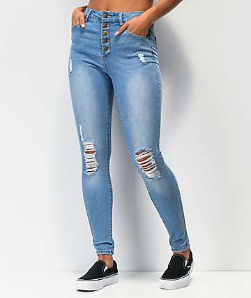 Empyre Drea High-Rise Exposed Button Light Wash Denim Jeggings