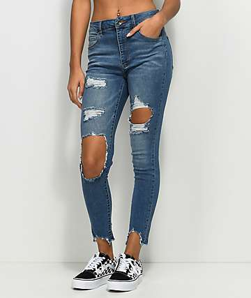 Empyre Drea High-Rise Ripped Med Wash Jeggings