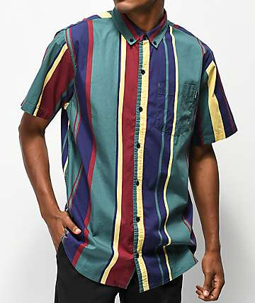 Empyre Drew Vertical Stripes Short Sleeve Button Up Shirt
